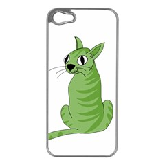 Green Cat Apple Iphone 5 Case (silver) by Valentinaart