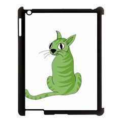 Green Cat Apple Ipad 3/4 Case (black) by Valentinaart