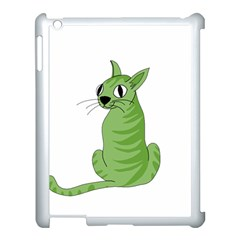 Green Cat Apple Ipad 3/4 Case (white) by Valentinaart