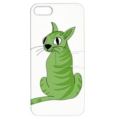 Green Cat Apple Iphone 5 Hardshell Case With Stand by Valentinaart