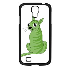 Green Cat Samsung Galaxy S4 I9500/ I9505 Case (black) by Valentinaart