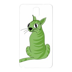 Green Cat Samsung Galaxy Note 3 N9005 Hardshell Back Case by Valentinaart