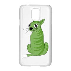 Green Cat Samsung Galaxy S5 Case (white) by Valentinaart