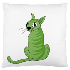 Green Cat Large Flano Cushion Case (two Sides) by Valentinaart