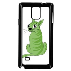 Green Cat Samsung Galaxy Note 4 Case (black) by Valentinaart