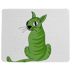 Green Cat Jigsaw Puzzle Photo Stand (rectangular) by Valentinaart