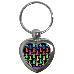 Colorful Cats Pattern Key Chains (heart)  by Valentinaart