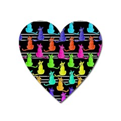 Colorful Cats Pattern Heart Magnet by Valentinaart