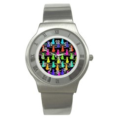 Colorful Cats Pattern Stainless Steel Watch by Valentinaart