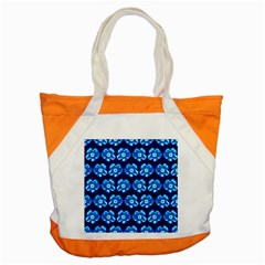 Turquoise Blue Flower Pattern On Dark Blue Accent Tote Bag by Costasonlineshop