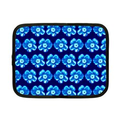 Turquoise Blue Flower Pattern On Dark Blue Netbook Case (small)  by Costasonlineshop