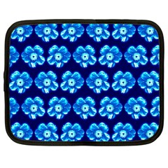 Turquoise Blue Flower Pattern On Dark Blue Netbook Case (large) by Costasonlineshop