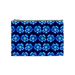 Turquoise Blue Flower Pattern On Dark Blue Cosmetic Bag (medium)  by Costasonlineshop