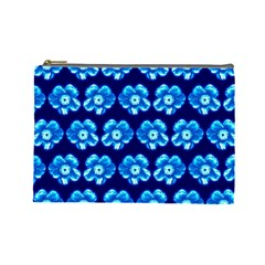 Turquoise Blue Flower Pattern On Dark Blue Cosmetic Bag (large)  by Costasonlineshop