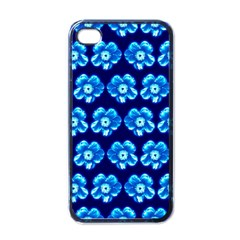 Turquoise Blue Flower Pattern On Dark Blue Apple Iphone 4 Case (black)