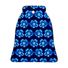 Turquoise Blue Flower Pattern On Dark Blue Bell Ornament (2 Sides) by Costasonlineshop