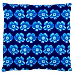 Turquoise Blue Flower Pattern On Dark Blue Large Flano Cushion Case (one Side) by Costasonlineshop