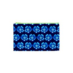Turquoise Blue Flower Pattern On Dark Blue Cosmetic Bag (xs) by Costasonlineshop