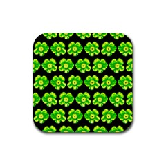 Green Yellow Flower Pattern On Dark Green Rubber Coaster (square)  by Costasonlineshop