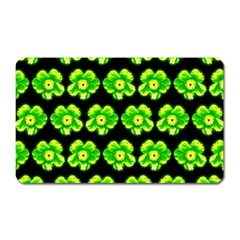 Green Yellow Flower Pattern On Dark Green Magnet (rectangular) by Costasonlineshop