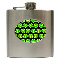 Green Yellow Flower Pattern On Dark Green Hip Flask (6 Oz) by Costasonlineshop