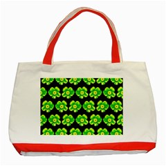 Green Yellow Flower Pattern On Dark Green Classic Tote Bag (red) by Costasonlineshop