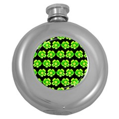 Green Yellow Flower Pattern On Dark Green Round Hip Flask (5 Oz) by Costasonlineshop