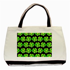 Green Yellow Flower Pattern On Dark Green Basic Tote Bag (two Sides) by Costasonlineshop