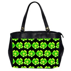 Green Yellow Flower Pattern On Dark Green Office Handbags (2 Sides)  by Costasonlineshop