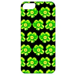 Green Yellow Flower Pattern On Dark Green Apple Iphone 5 Classic Hardshell Case by Costasonlineshop