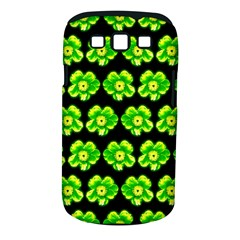 Green Yellow Flower Pattern On Dark Green Samsung Galaxy S Iii Classic Hardshell Case (pc+silicone) by Costasonlineshop