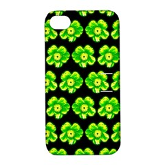 Green Yellow Flower Pattern On Dark Green Apple Iphone 4/4s Hardshell Case With Stand by Costasonlineshop