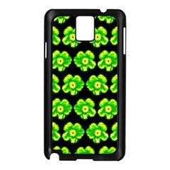 Green Yellow Flower Pattern On Dark Green Samsung Galaxy Note 3 N9005 Case (black) by Costasonlineshop