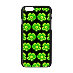 Green Yellow Flower Pattern On Dark Green Apple Iphone 6/6s Black Enamel Case by Costasonlineshop