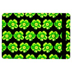 Green Yellow Flower Pattern On Dark Green Ipad Air 2 Flip