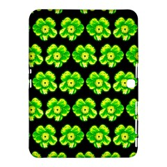 Green Yellow Flower Pattern On Dark Green Samsung Galaxy Tab 4 (10 1 ) Hardshell Case  by Costasonlineshop
