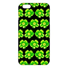 Green Yellow Flower Pattern On Dark Green Iphone 6 Plus/6s Plus Tpu Case by Costasonlineshop