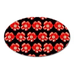 Red  Flower Pattern On Brown Oval Magnet by Costasonlineshop
