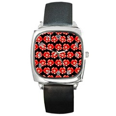 Red  Flower Pattern On Brown Square Metal Watch by Costasonlineshop