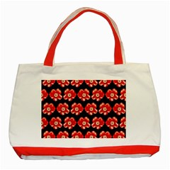 Red  Flower Pattern On Brown Classic Tote Bag (red)