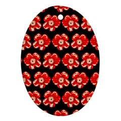 Red  Flower Pattern On Brown Oval Ornament (two Sides)