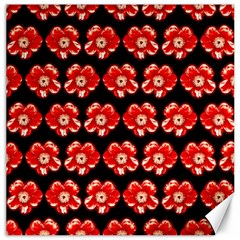 Red  Flower Pattern On Brown Canvas 12  X 12   by Costasonlineshop