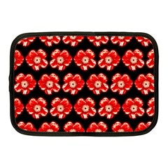 Red  Flower Pattern On Brown Netbook Case (medium)  by Costasonlineshop