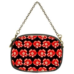 Red  Flower Pattern On Brown Chain Purses (one Side)  by Costasonlineshop