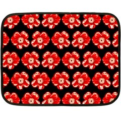 Red  Flower Pattern On Brown Double Sided Fleece Blanket (mini)