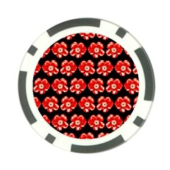 Red  Flower Pattern On Brown Poker Chip Card Guards (10 Pack)