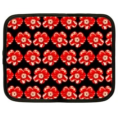 Red  Flower Pattern On Brown Netbook Case (xl)  by Costasonlineshop