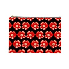 Red  Flower Pattern On Brown Cosmetic Bag (large)  by Costasonlineshop