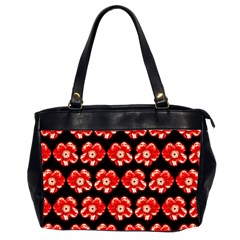 Red  Flower Pattern On Brown Office Handbags (2 Sides)  by Costasonlineshop