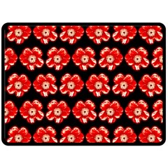 Red  Flower Pattern On Brown Fleece Blanket (large)  by Costasonlineshop